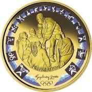 Australia 100 Dollars Sydney Olympics Preparation - Shot Put Coaching 2000 KM# 443 PREPARATION SYDNEY 2000 P coin reverse