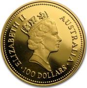 Australia 100 Dollars The Australian Nugget 1986 KM# 92 ELIZABETH II AUSTRALIA 100 DOLLARS RDM coin obverse