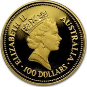 Australia 100 Dollars The Australian Nugget 1987 KM# 98 ELIZABETH II AUSTRALIA 100 DOLLARS RDM coin obverse
