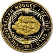 Australia 100 Dollars The Australian Nugget 1987 KM# 98 THE AUSTRALIAN NUGGET 1 OZ. FINE POSEIDON 1906 P SD 1987 coin reverse