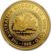 Australia 100 Dollars The Australian Nugget 1988 KM# 107 THE AUSTRALIAN NUGGET 1 OZ. 9999 GOLD 1988 PRIDE OF AUSTRALIA 1981 P200 coin reverse