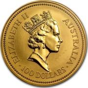 Australia 100 Dollars The Australian Nugget 1990 KM# 121 ELIZABETH II AUSTRALIA 100 DOLLARS RDM coin obverse