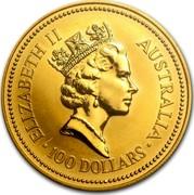 Australia 100 Dollars The Australian Nugget 1992 KM# 169 ELIZABETH II AUSTRALIA 100 DOLLARS RDM coin obverse