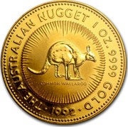 Australia 100 Dollars The Australian Nugget 1992 KM# 169 THE AUSTRALIAN NUGGET 1 OZ. 9999 GOLD COMMON WALLAROO *YEAR* coin reverse