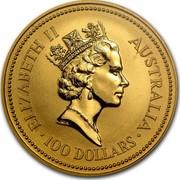 Australia 100 Dollars The Australian Nugget 1993 KM# 393 ELIZABETH II AUSTRALIA 100 DOLLARS RDM coin obverse