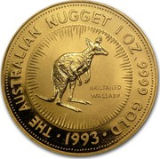 Australia 100 Dollars The Australian Nugget 1993 KM# 393 THE AUSTRALIAN NUGGET 1 OZ 9999 GOLD NAILTAILED WALLABY *YEAR* coin reverse