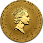 Australia 100 Dollars The Australian Nugget 1994 KM# 237 ELIZABETH II AUSTRALIA 100 DOLLARS RDM coin obverse