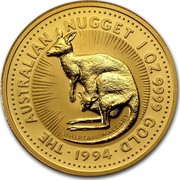 Australia 100 Dollars The Australian Nugget 1994 KM# 237 THE AUSTRALIAN NUGGET 1 OZ. 9999 GOLD WHIPTAIL WALLABY *YEAR* coin reverse