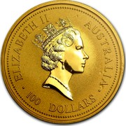 Australia 100 Dollars The Australian Nugget 1995 KM# 245 ELIZABETH II AUSTRALIA 100 DOLLARS RDM coin obverse