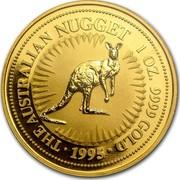 Australia 100 Dollars The Australian Nugget 1995 KM# 245 THE AUSTRALIAN NUGGET 1 OZ. 9999 GOLD *YEAR* coin reverse