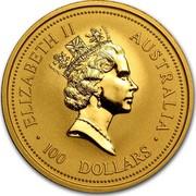 Australia 100 Dollars The Australian Nugget 1996 KM# 276 ELIZABETH II AUSTRALIA 100 DOLLARS RDM coin obverse