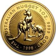 Australia 100 Dollars The Australian Nugget 1996 KM# 276 THE AUSTRALIAN NUGGET 1 OZ. 9999 GOLD *YEAR* coin reverse