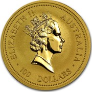 Australia 100 Dollars The Australian Nugget 1997 KM# 342 ELIZABETH II AUSTRALIA 100 DOLLARS RDM coin obverse