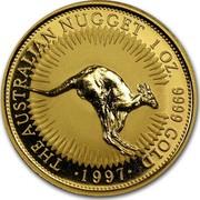 Australia 100 Dollars The Australian Nugget 1997 KM# 342 THE AUSTRALIAN NUGGET 1 OZ. 9999 GOLD *YEAR* coin reverse