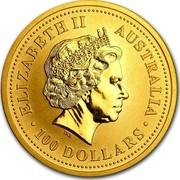 Australia 100 Dollars The Australian Nugget 1999 KM# 452 ELIZABETH II AUSTRALIA 100 DOLLARS IRB coin obverse