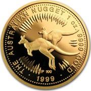 Australia 100 Dollars The Australian Nugget 1999 KM# 468 THE AUSTRALIAN NUGGET 1 OZ. 9999 GOLD 2000 coin reverse
