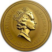 Australia 100 Dollars (The Australian Nugget) KM# 144 ELIZABETH II AUSTRALIA 100 DOLLARS RDM coin obverse
