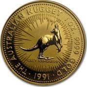 Australia 100 Dollars (The Australian Nugget) KM# 144 THE AUSTRALIAN NUGGET 1 OZ. 9999 GOLD GREY KANGAROO *YEAR* coin reverse