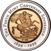 Australia 100 Dollars The Sovereign 1999 KM# 474 THE PERTH MINT CENTENARY SOVEREIGN P 100 1899 - 1999 coin reverse