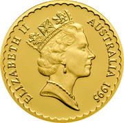 Australia 100 Dollars The Waratah Flower 1995 KM# 308 ELIZABETH II AUSTRALIA 1995 RDM coin obverse