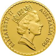 Australia 100 Dollars Waratah Flower 1995 Proof KM# 308a ELIZABETH II AUSTRALIA 1995 coin obverse