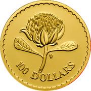 Australia 100 Dollars Waratah Flower 1995 Proof KM# 308a 100 DOLLARS coin reverse