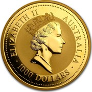 Australia 1000 Dollars The Australian Kangaroo 1995 KM# 183 ELIZABETH II AUSTRALIA 1000 DOLLARS RDM coin obverse