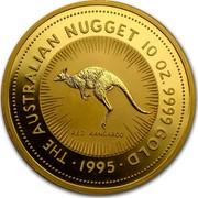 Australia 1000 Dollars The Australian Kangaroo 1995 KM# 183 THE AUSTRALIAN NUGGET 10 OZ. 9999 GOLD *YEAR* RED KANGAROO coin reverse
