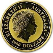 Australia 1000 Dollars The Australian Kangaroo 2000 KM# 454 ELIZABETH II AUSTRALIA 1000 DOLLARS IRB coin obverse
