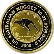 Australia 1000 Dollars The Australian Kangaroo 2000 KM# 454 THE AUSTRALIAN NUGGET 10 OZ. 9999 GOLD *YEAR* RED KANGAROO coin reverse