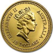 Australia 15 Dollars Australian Nugget 1987 KM# 89 ELIZABETH II AUSTRALIA ∙15 DOLLARS∙ coin obverse