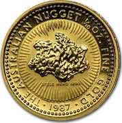 Australia 15 Dollars Australian Nugget 1987 KM# 89 HE AUSTRALIAN NUGGET 1/10 OZ. FINE GOLD LITTLE HERO 1890 coin reverse