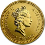 Australia 15 Dollars Nail-tailed Wallaby 1992 (ae) Proof KM# 390 ELIZABETH II AUSTRALIA 15 DOLLARS coin obverse