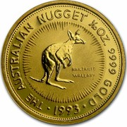 Australia 15 Dollars Nail-tailed Wallaby 1992 (ae) Proof KM# 390 THE AUSTRALIAN NUGGET 1/10 OZ. 9999 GOLD DATE coin reverse