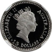 Australia 15 Dollars The Australian Koala 1990 KM# 123 ELIZABETH II AUSTRALIA 15 DOLLARS RDM coin obverse