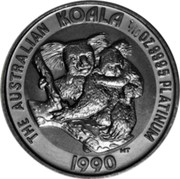 Australia 15 Dollars The Australian Koala 1990 KM# 123 THE AUSTRALIAN KOALA 1/10 OZ. 9995 PLATINUM YEAR MT coin reverse