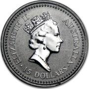Australia 15 Dollars (The Australian Koala) KM# 108 ELIZABETH II AUSTRALIA 15 DOLLARS RDM coin obverse
