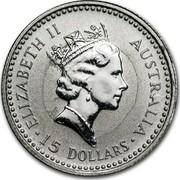 Australia 15 Dollars (The Australian Koala) KM# 146 ELIZABETH II AUSTRALIA 15 DOLLARS RDM coin obverse
