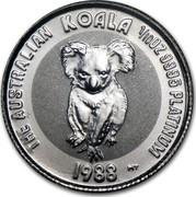 Australia 15 Dollars (The Australian Koala) KM# 108 THE AUSTRALIAN KOALA 1/10 OZ. 9995 PLATINUM 1988 MT coin reverse