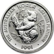 Australia 15 Dollars (The Australian Koala) KM# 146 THE AUSTRALIAN KOALA 1/10 OZ. 9995 PLATINUM 1991 JB coin reverse