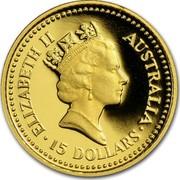 Australia 15 Dollars The Australian Nugget 1987 KM# 95 ELIZABETH II AUSTRALIA 15 DOLLARS RDM coin obverse
