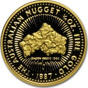 Australia 15 Dollars The Australian Nugget 1987 KM# 95 THE AUSTRALIAN NUGGET 1/10 OZ. FINE GOLD GOLDEN AUSSIE 1980 P 1987 coin reverse
