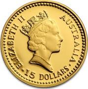 Australia 15 Dollars The Australian Nugget 1989 KM# 118 ELIZABETH II AUSTRALIA 15 DOLLARS RDM coin obverse