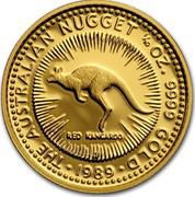 Australia 15 Dollars The Australian Nugget 1989 KM# 118 THE AUSTRALIAN NUGGET 1/10 OZ. 9999 GOLD RED KANGAROO *YEAR* coin reverse