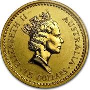 Australia 15 Dollars The Australian Nugget 1991 KM# 141 ELIZABETH II AUSTRALIA 15 DOLLARS RDM coin obverse