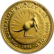 Australia 15 Dollars The Australian Nugget 1991 KM# 141 THE AUSTRALIAN NUGGET 1/10 OZ. 9999 GOLD GREY KANGAROO *YEAR* coin reverse