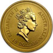 Australia 15 Dollars The Australian Nugget 1996 KM# 273 ELIZABETH II AUSTRALIA 15 DOLLARS RDM coin obverse