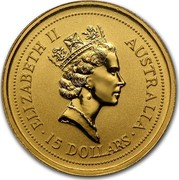 Australia 15 Dollars The Australian Nugget 1997 KM# 339 ELIZABETH II AUSTRALIA 15 DOLLARS RDM coin obverse