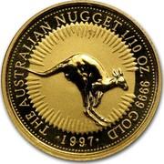 Australia 15 Dollars The Australian Nugget 1997 KM# 339 THE AUSTRALIAN NUGGET 1/10 OZ. 9999 GOLD *YEAR* coin reverse