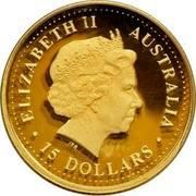 Australia 15 Dollars The Australian Nugget 1999 KM# 449 ELIZABETH II AUSTRALIA 15 DOLLARS IRB coin obverse